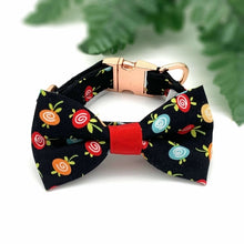 Load image into Gallery viewer, Black Fruity Collar/Bow Tie Set