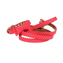 Load image into Gallery viewer, Red Black Polka Dot Small Dog Collar Bandana_Bow Tie and Leash