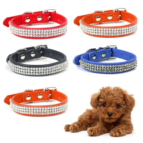 Diamond PU Leather Glisten Shine Pet Collar