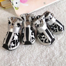 Load image into Gallery viewer, 4pcs/set Metallic Leopard  Print Leather Pet Shoes
