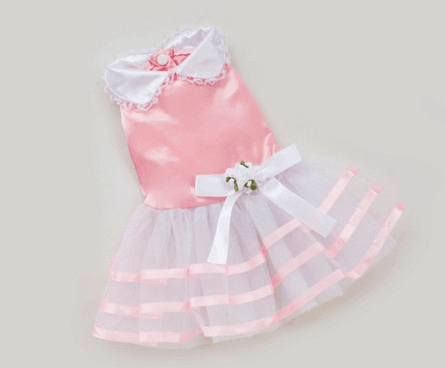 Pink Striped Satin Bow Lace Dress