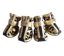 4pcs/set Metallic Leopard  Print Leather Pet Shoes