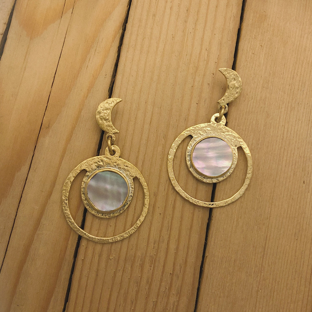 Brass Moon Ray Earrings
