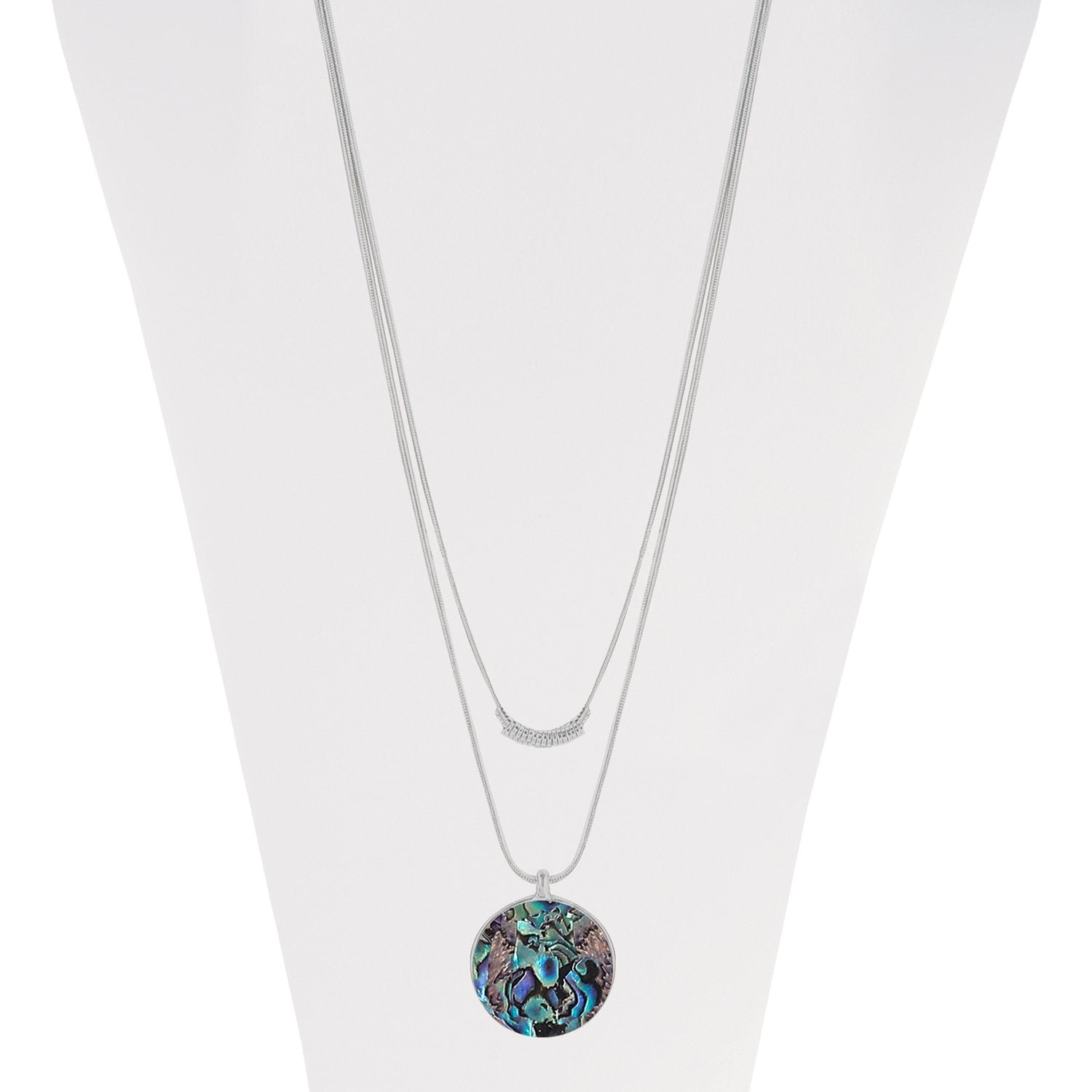 Jackie Abalone Necklace Silver Tone