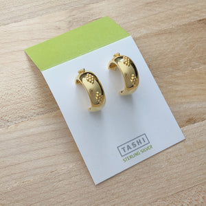 Shiny Gold Dotty Hoops