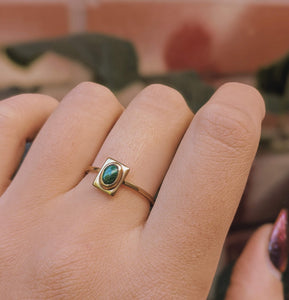 Small Brass Stone Ring - Malachite