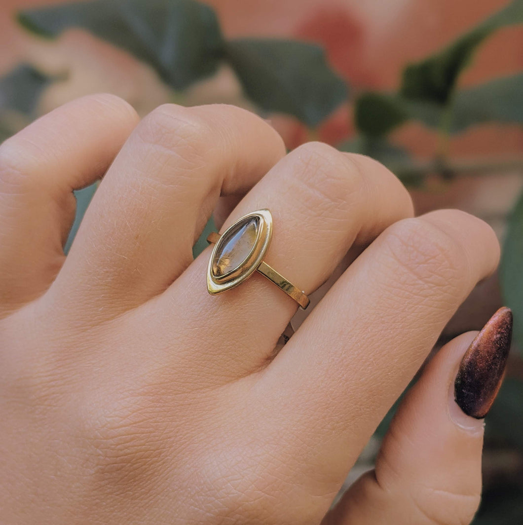 Brass Ring with Smokey Quartz Stone