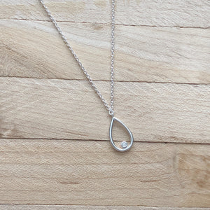 Tiny Tear Drop Necklace w CZ