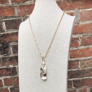 Long Hammered Tear Drop Necklace | Gold