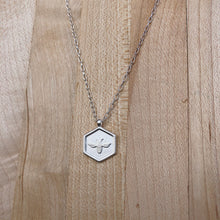 Load image into Gallery viewer, Bee Hex Necklace | Brushed Silver