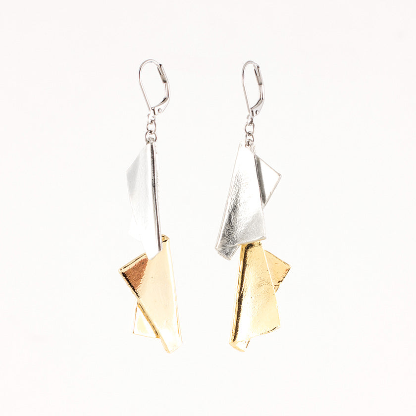Sabine Earrings | Pewter & Gold