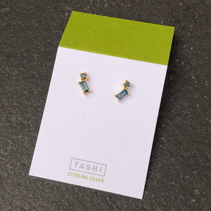 Gold Stacked London Blue Topaz Studs