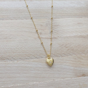 Gold Heart Compass Necklace