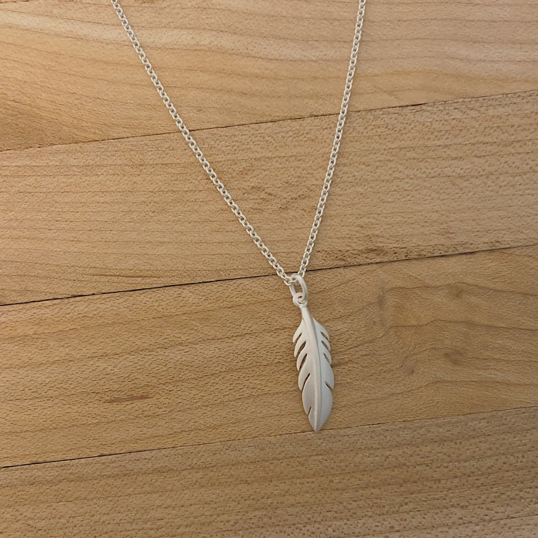 Silver Brushed Feather Necklace
