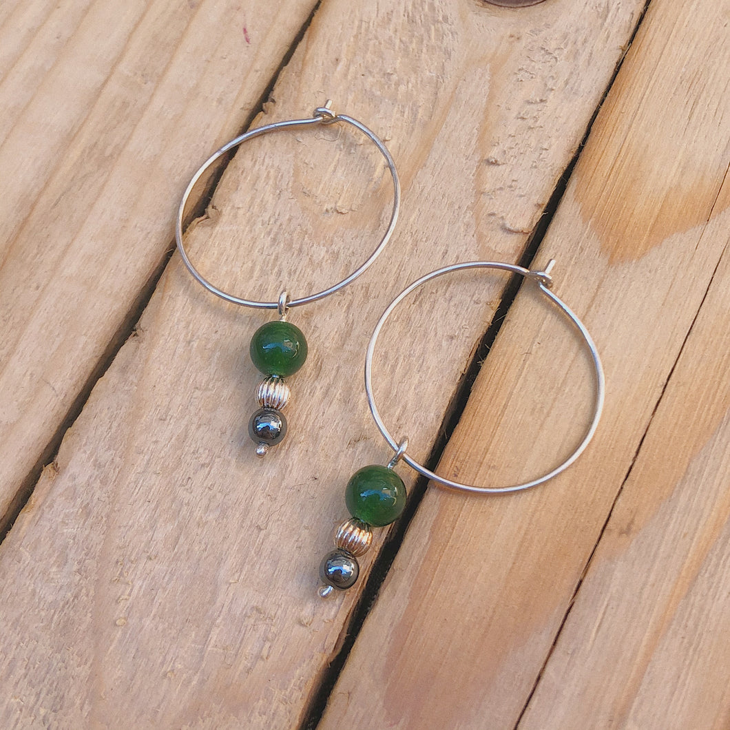Silver Wire Hoop with Forest Green Beads