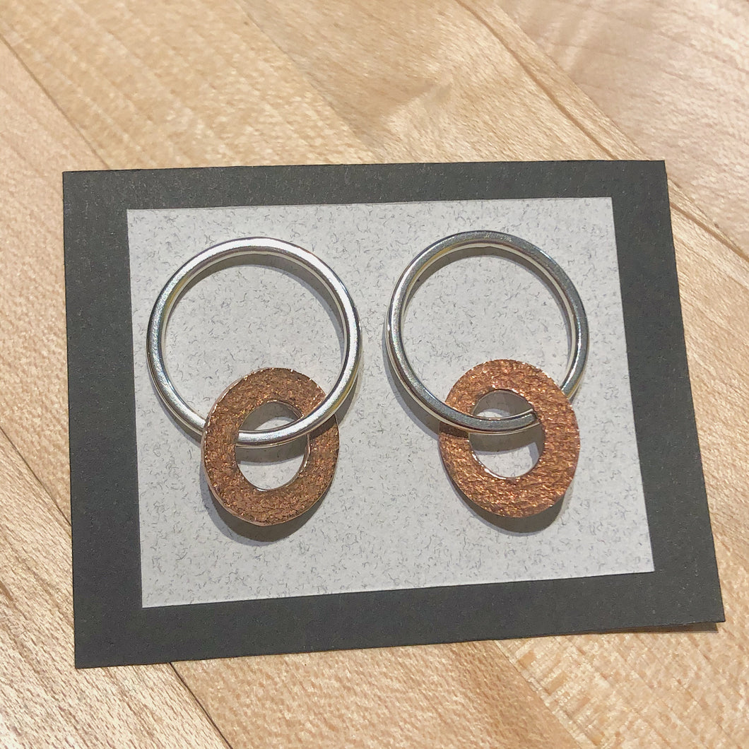 Silver and Bronze Oval Drop Studs