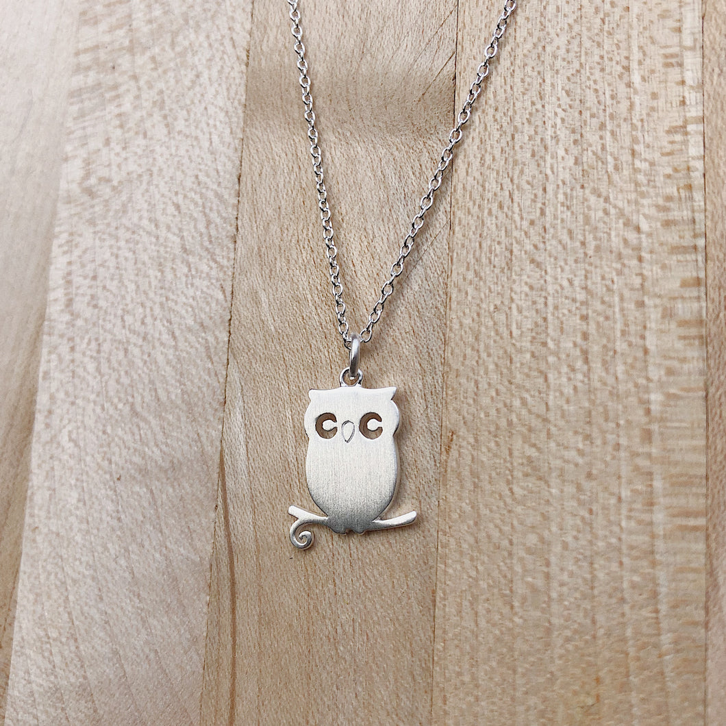 Perched Owl Necklace | Brushed Silver