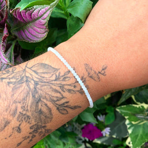 Silver Gem Stacker Bracelet- Misty Aquamarine