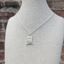 Load image into Gallery viewer, Perched Owl Necklace | Brushed Silver