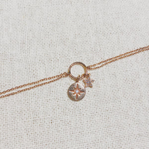 North Star Dangle Bracelet | Rose Gold