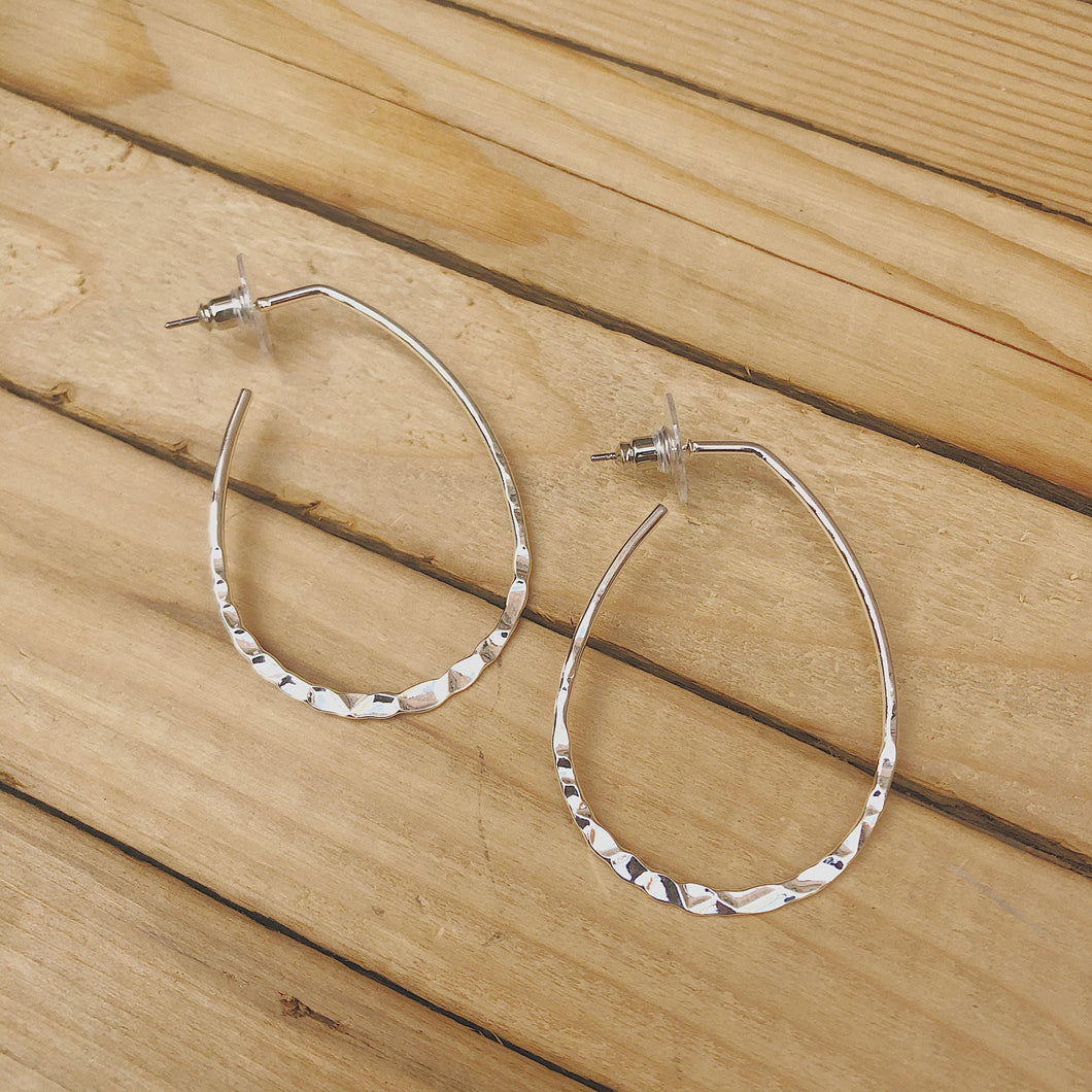 Hammered Tear Drop Hoop