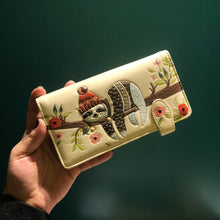 Load image into Gallery viewer, Cozy Sloth Wallet- Cream
