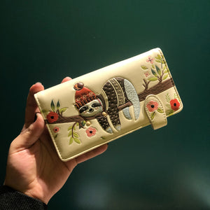 Cozy Sloth Wallet- Cream