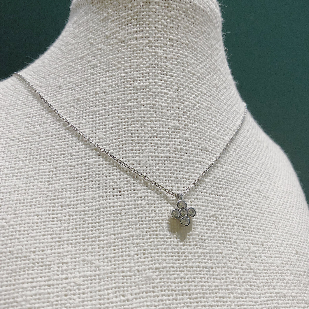 Silver Cubic Mini Flower Necklace