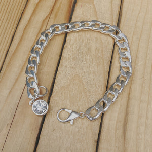 Puffy Curb Bracelet w CZ Dangle | Silver