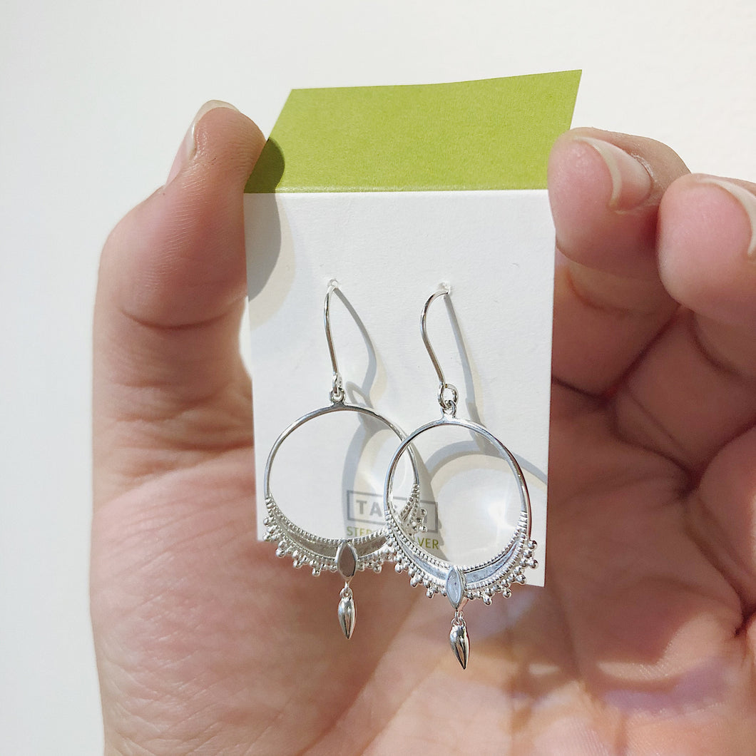 Shiny Silver Drop Earrings
