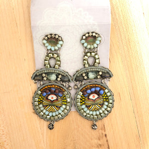 Green and Pale Blue Statement Earring
