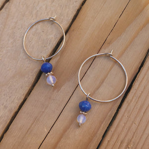 Silver Wire Hoop with Lapis Lazuli