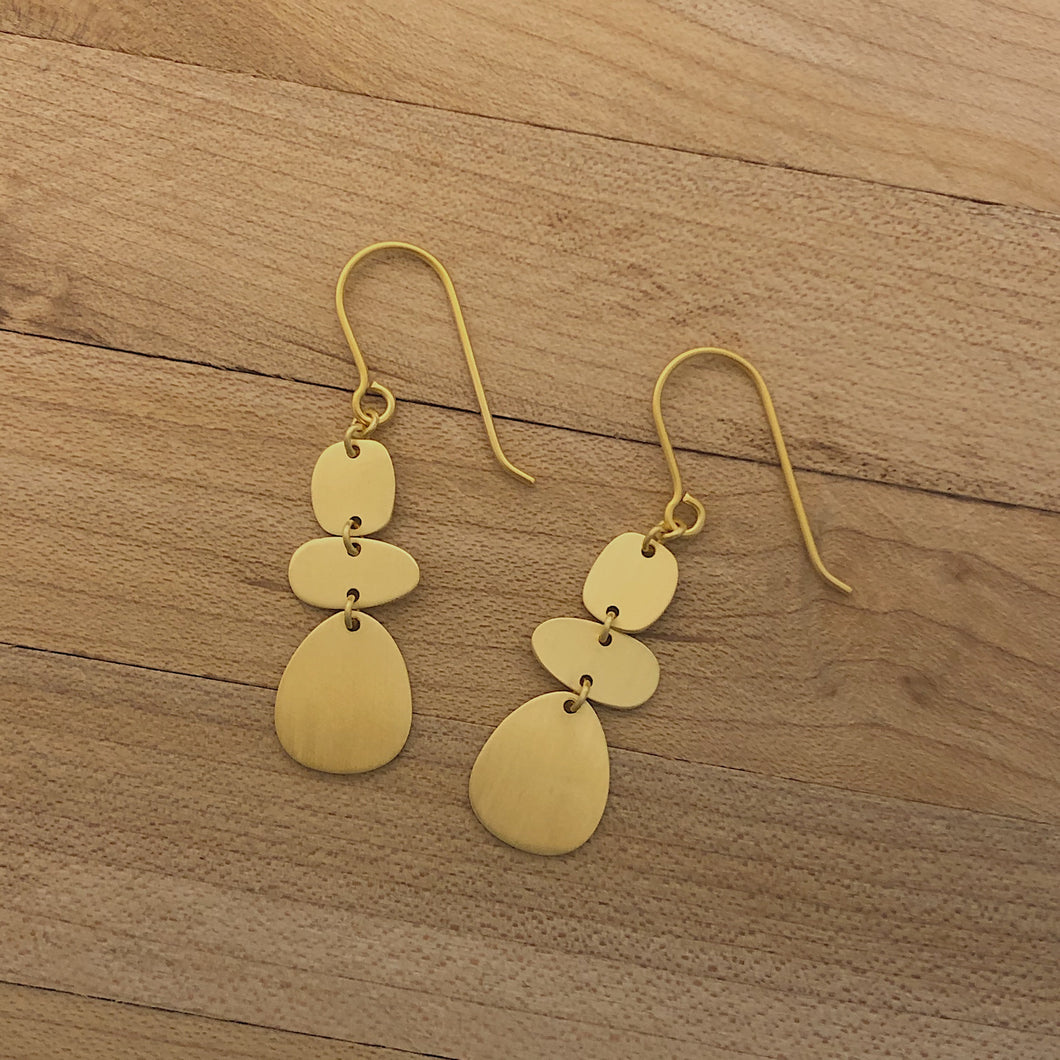 Brushed Gold Stacked Pebble Earrings