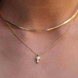 Gold Opal Necklace | Moonstone