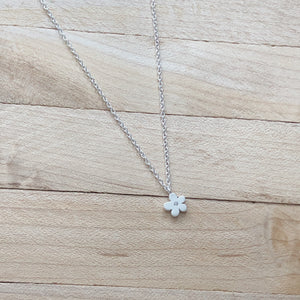 Teeny Brushed Daisy Necklace w CZ