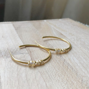 Gold Moonstone and CZ Detailed Hoops