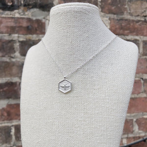 Bee Hex Necklace | Brushed Silver