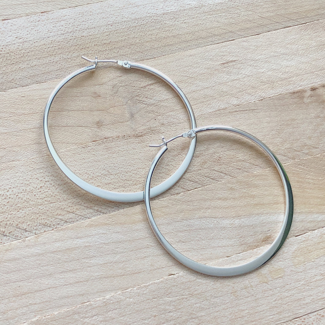 Large Simple Silver Flat Hoop