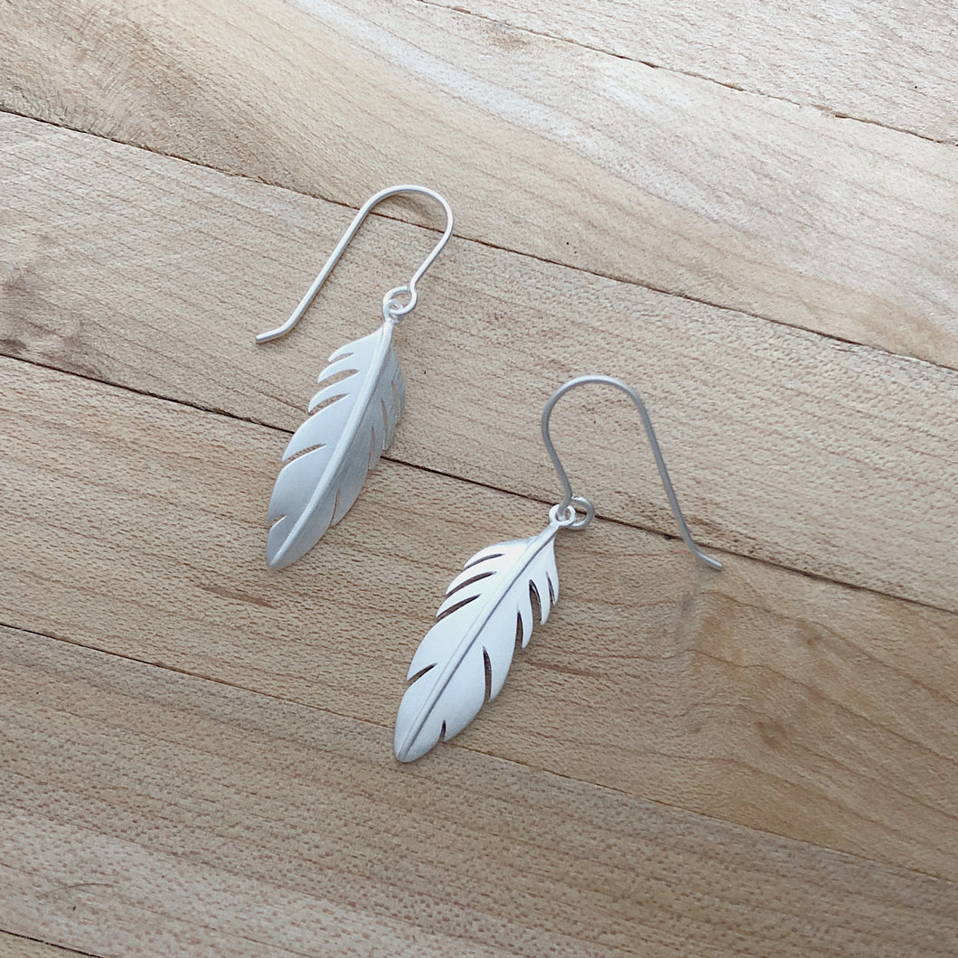 Brushed Silver Feather Earrings