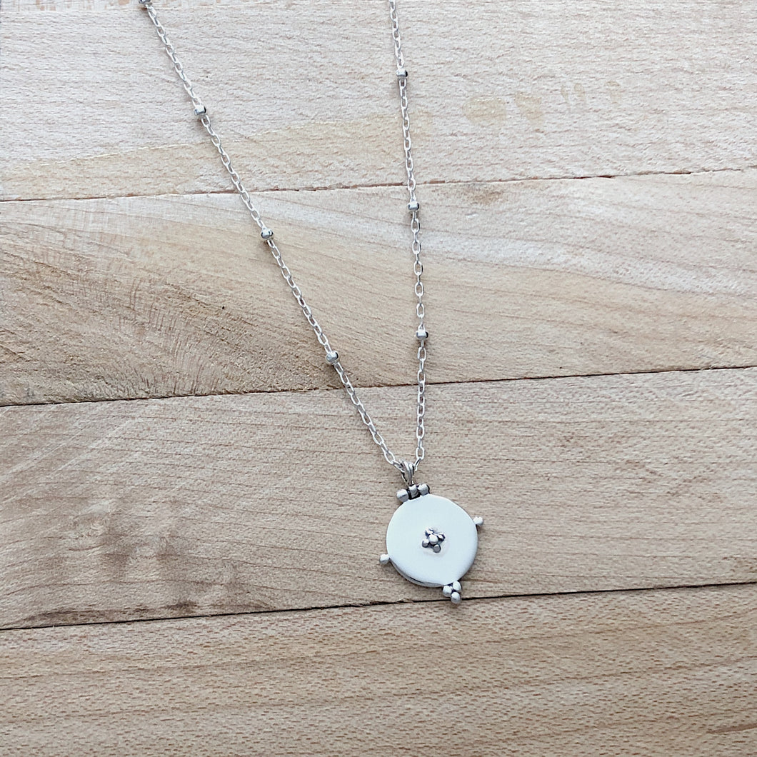 Shiny Dotted Circle Necklace