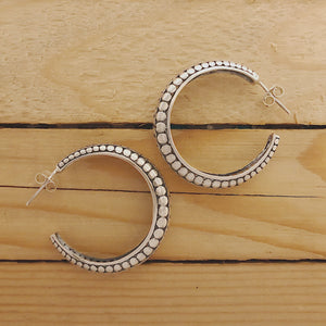 Large Silver Dotted Hoops