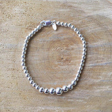 Load image into Gallery viewer, Graduated Sterling Silver Ball Bracelet
