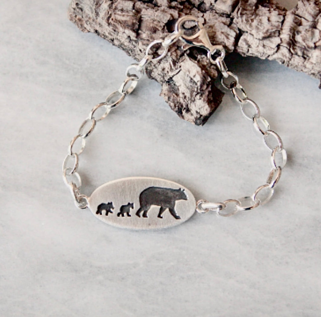 Mama Bear With Two Cubs Bracelet