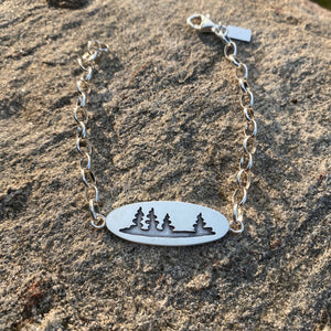 Sterling Chain Bracelet with Pine Trees