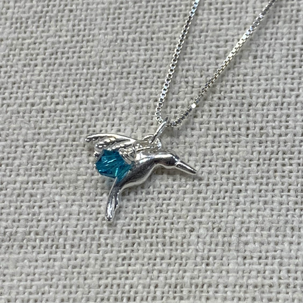 Hummingbird Necklace w Teal Charm 14