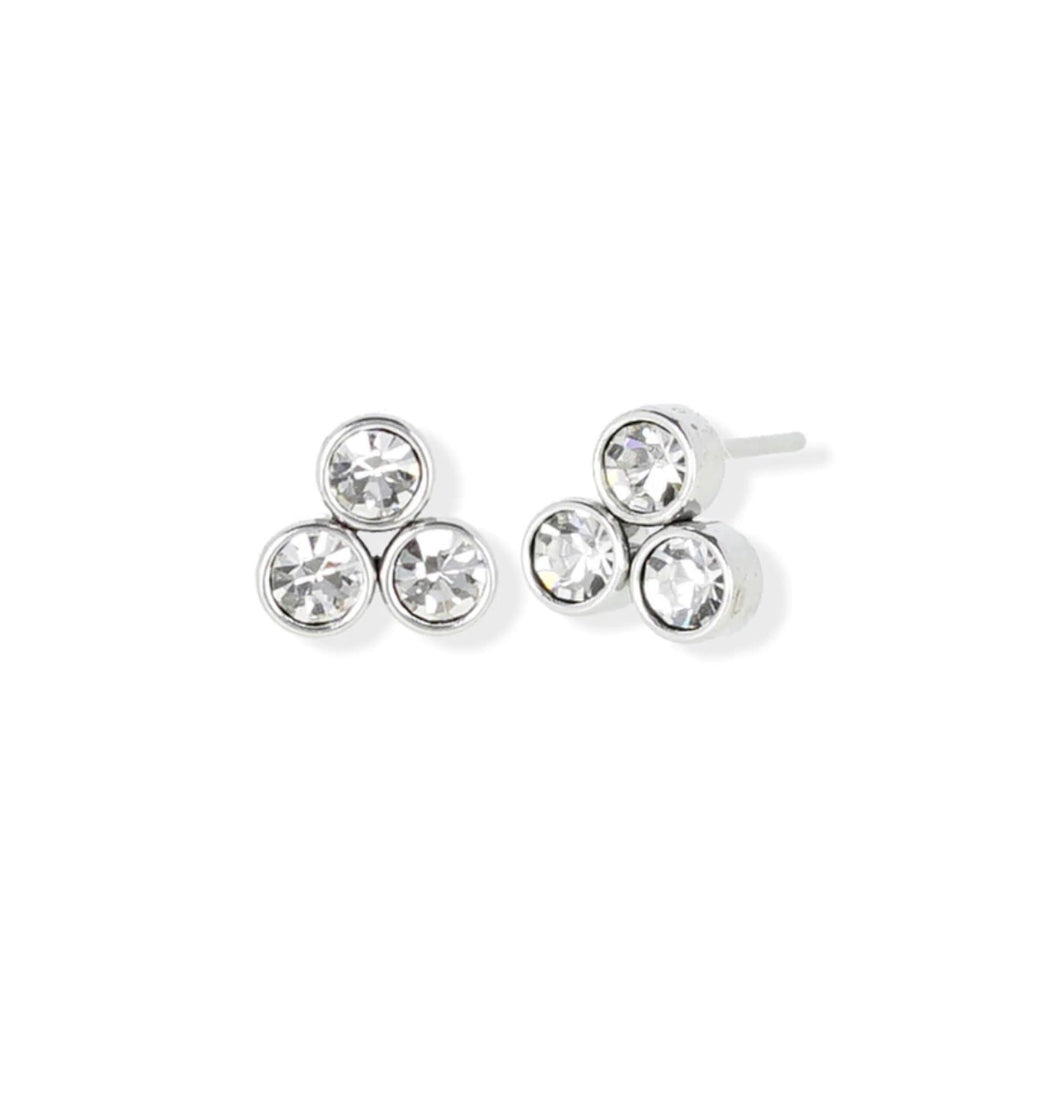 Triple Crystal Studs | Silver