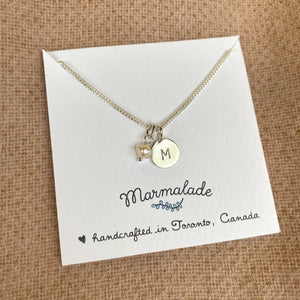Build Your Own Necklace | Silver Tiny Letter + Gemstone