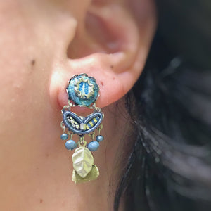 Blue and Green Stud Drop Earrings