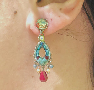 Red and Turquoise Small Stud Drops