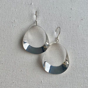 Shiny Silver Abstract Dangle Earring